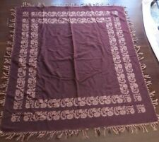 Antique Wool kashmir Table Cover scarf~browns~fringed Reverses wall hang 66�Sq~