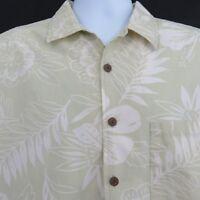 Point Zero Hawaiian Aloha Shirt Floral Light Green Mens L Leaves 100% Cotton