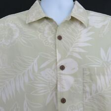Pale Green Floral L Leaves Point Zero Cotton Hawaiian Aloha Shirt