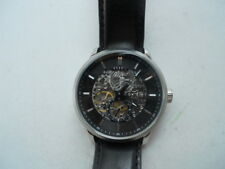 Fossil Automatic winding-up Blk leather band,Analog & Dress used watch.ME-3018