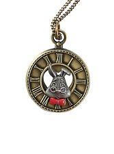 Disney Alice in Wonderland White Rabbit Necklace White Rabbit Clock Face NWT