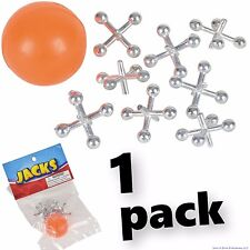 1 SET OF METAL STEEL JACKS WITH SUPER RED RUBBER BALL GAME CLASSIC TOY KIDS