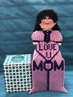 Handmade Needlepoint Plastic Canvas Doll Tissue Box Cover Love you Mom Orchid