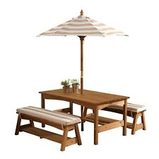 Kidkraft Outdoor Table and Bench Set and Umbrella (Oatmeal-00500)