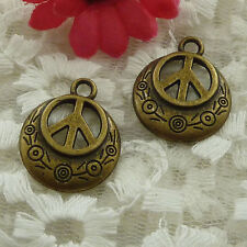 free ship 150 pieces bronze plated peace symbol charms 24x20mm #2524