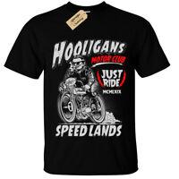 HOOLIGANS Biker T-Shirt Mens gift present bike motorbike rider rock motorcycle