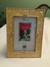 """The Diana Series yellow enamel and jeweled picture frame 4"""" x 6"""" New"""