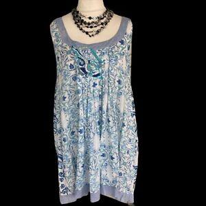 ANTICA SANTORIA Blue Print Cotton Dress XL Beach Cover Up Giacomo Cinque Boho