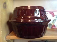 Large covered Brown pottery casserole dish USA