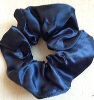 A Plain Black Satin Scrunchie Ponytail Band / Bobble