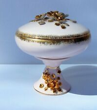 Vintage RARE Lefton China Japan Pedestal Pink Gold Rose Candy Dish w Lid 20429