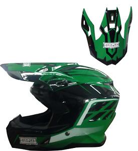 PULSE MOTOCROSS MX QUAD ENDURO OFF ROAD HELMET - PX3 GREEN WITH REPLACEMENT PEAK