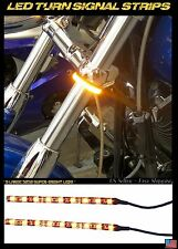 2x LED 39-43mm Motorcycle Fork Turn Signal/Running Light Clear Slim Lens Flush