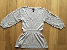 New No Tags Mango Cream Crochet Sleeve Knitted Top Size Small