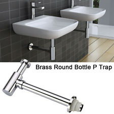 Brass Round Bottle P-Trap Basin Sink Waste Trap Drain Kit Chrome