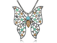 Womens Beautiful Multicolored Rhinestones Butterfly Pendant Necklace Gift Jewel