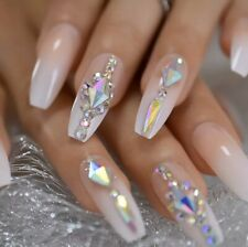 Gradient French Tip Rhinestone Long Coffin Press On Nails Fake False 24 Pc Set