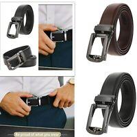Genuine Leather Belt For Men Ratchet Belt Autonomic Belt Buckle Black Coffee US