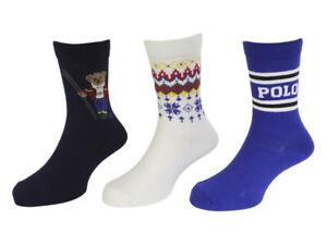 Polo Ralph Lauren Toddler/Little/Big Boy's 3-Pairs Ski Bear Crew Socks