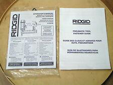Ridgid Pnuematic 18Ga Straight Finishing Stapler Operator'S Manual-Model#R150Sfe