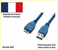 2m Câble USB 3.0 MM Superspeed type A Mâle / micro-B Mâle, double blindage, Bleu