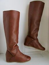 OFFICE LONDON WOMENS 7.5 38 KNEE HIGH BOOTS BROWN LEATHER WEDGE HEELS TALL