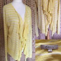 KEW Yellow White STRIPE Linen Blend WATERFALL Cardigan Sz L 14 16 RUFFLED B15