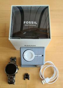 Fossil Q Carlyle Gen 5 44mm Grau Edelstahl Smartwatch Uhr für Herren (FTW4024)