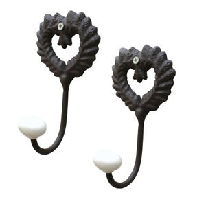 Set of 2 Vintage Shabby Chic Heart Shaped Bedroom Hallway Wall Coat Clothes Hook