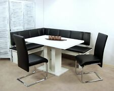 Eckbankgruppe 4-tlg. Essgruppe Eckbank Esstisch Sitzgruppe Farbe: weiß/schwarz
