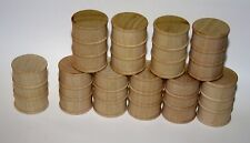 10 Wooden Oil drums, barrel for trains crafts dollhouse 1 5/8 tall 1:24