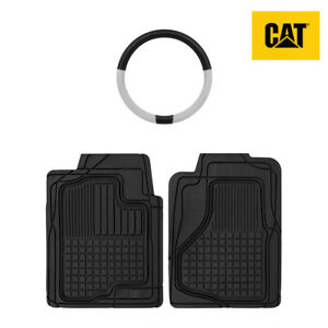 All Weather Heavy Duty Universal Front Floor Mats (2pc) + Steering Wheel Cover