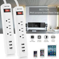 3 USB Port 3-Outlet AC Wall Power Strip Travel Plug Adapter Surge Protector, 3ft