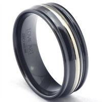Black Zirconium Wedding Band Mens Ring Anniversary Polished LWR Jewelry Silver