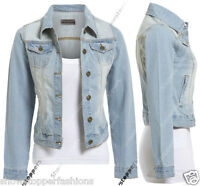 18 20 22 24 NEW DENIM JACKET Womens Jean Waist Jackets LADIES Stonewash Blue