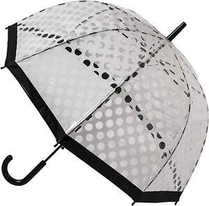 """SOAKE Umbrella White Polka Dot Auto Open Clear Dome Quality 32"""" Rain See Through"""