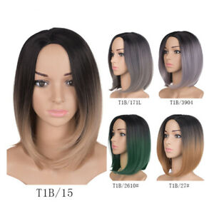 Ombre Colors Straight Short Hair Bob Wig Synthetic Colorful Cosplay Flapper Wig