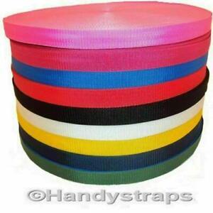 "10 Metre x 25mm Polypropylene Webbing colour 1"" Strap Lead Narrow Fabric"