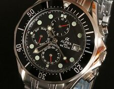 Alpha Seamaster Multi function Automatic Gents Watch Black Ripple Dial