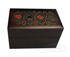 Playing Card Box Polish Handmade Linden Wooden Keepsake Cards Box