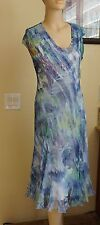 Komarov Print Chiffon & Charmeuse A-Line Dress (Size L)