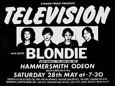 "Television / Blondie Hammersmith 16"" x 12"" Photo Repro Concert Poster"