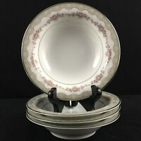 Lot of 4 VTG Fruit Sauce Bowls Noritake Glenwood 5770 Pink Roses Platinum Japan