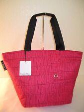Calvin Klein Magenta Pink Nylon Large Athleisure Top Zip Tote Bag $188