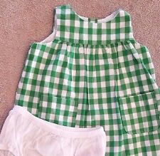 DARLING! GAP 3-6 MONTH GREEN & WHITE CHECK 2PC DRESS W/BLOOMERS