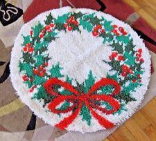 "Christmas Latch Hook Tree Skirt Rug 33"" Round Vintage Completed"