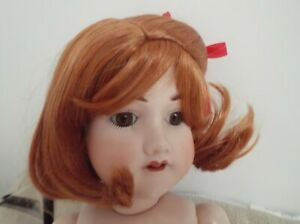 12 inch DOLLS WIG IN CARROT RED SHORT STYLE WITH RIBBON DETAIL DEBBIE