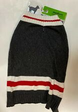 """Walmart Dog/cat Sweater Apparel gray With white trim & Red Accent M(17-22"""") NWT"""