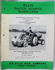 D.R. ELLIS COMPANY TRACTOR MOUNTED TRANSPLANTER ADVERTISING BROCHURE VINTAGE