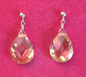 """Sterling Silver Earrings CZ Champagne Peach Briolette Teardrop .90"""" 5g 925 #1599"""